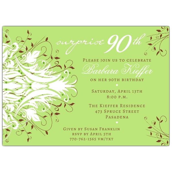 andromeda green surprise 90th birthday invitations p 610 75 240g