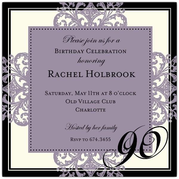 decorative square border eggplant 90th birthday invitations p 603 55 672 90