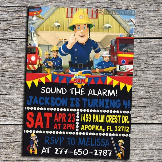 fireman sam birthday party invitation
