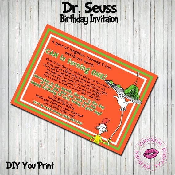 dr seuss birthday invitation sam i am