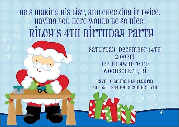 Santa Birthday Party Invitations Christmas Santa Claus Birthday Party Invitations
