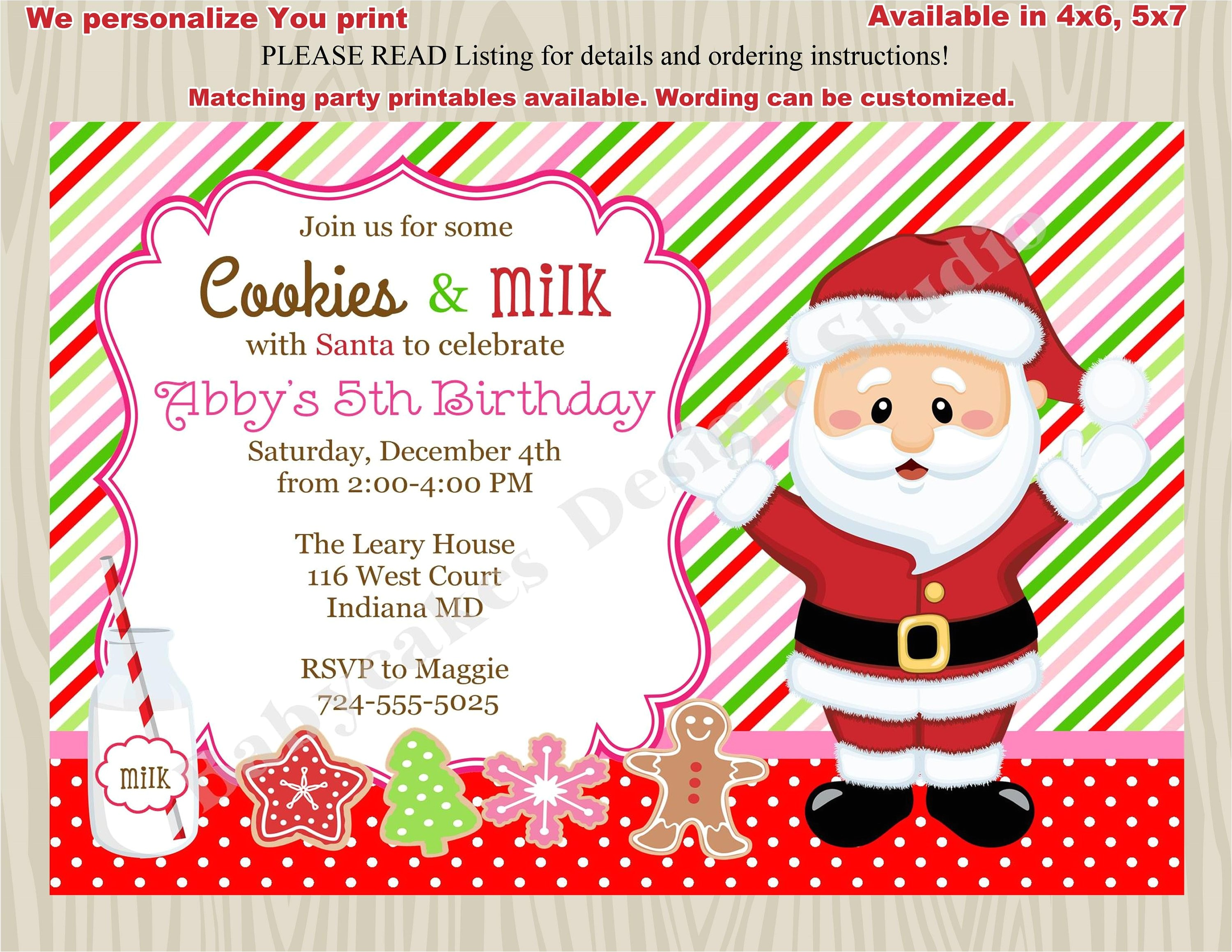 cookies with santa invitations milk and