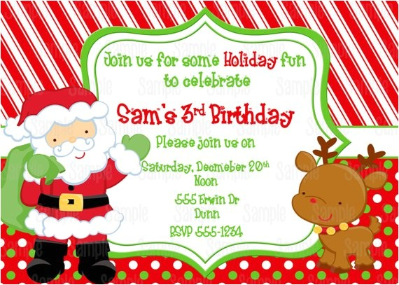 printable santa birthday party invitation free