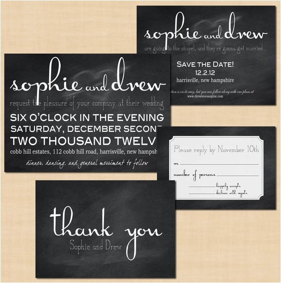 premium chalkboard wedding invitation