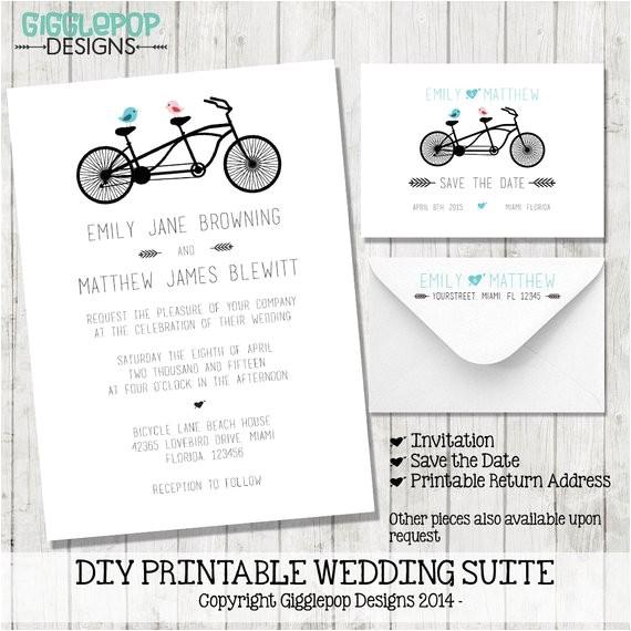 modern diy wedding invitation printable lovebirds 2