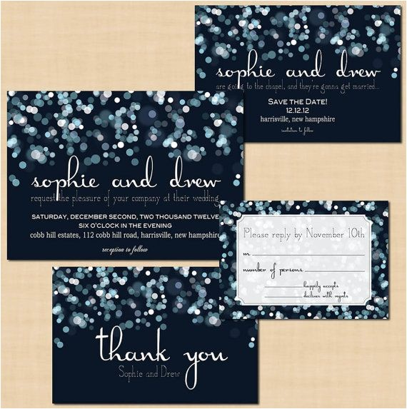 sparkly stars on water save the date invitation rsvp and thank