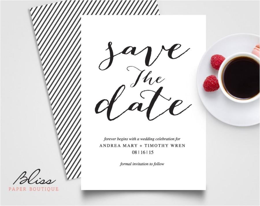 black and white custom printable save the date save the date wedding invitation card template bpb03