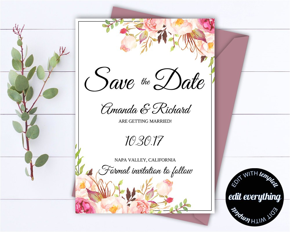 floral save the date wedding template floral save the d