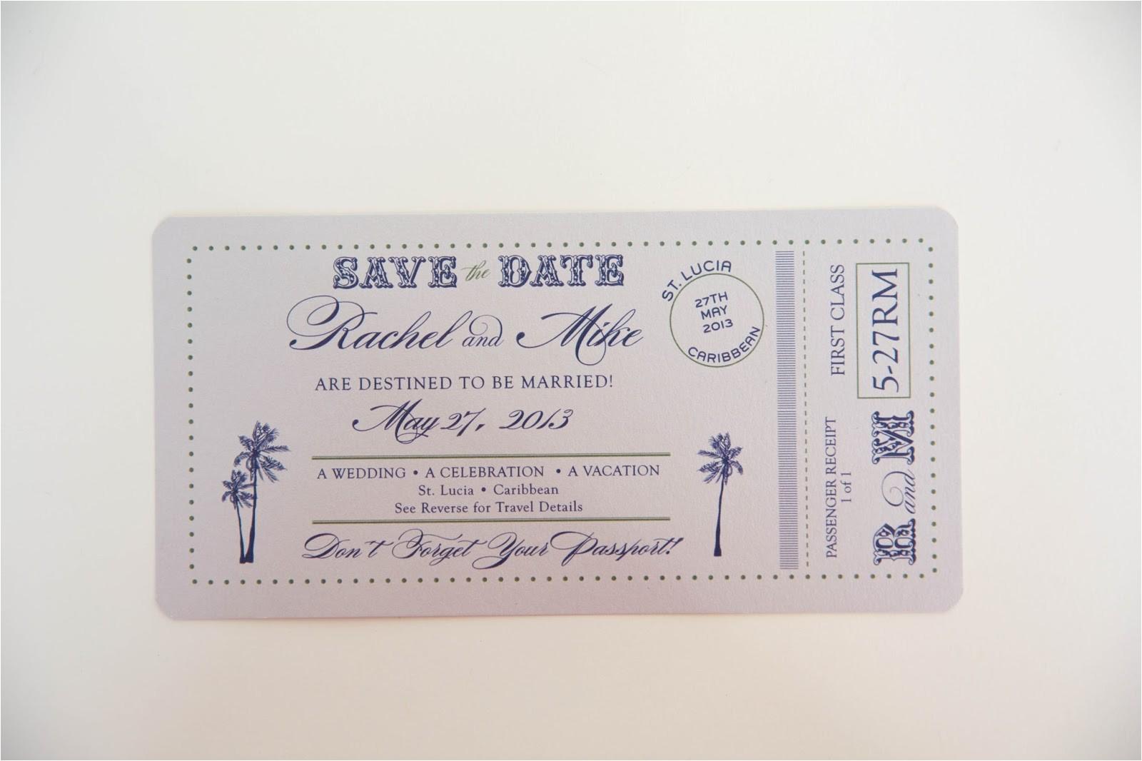 passport save date wedding invitations