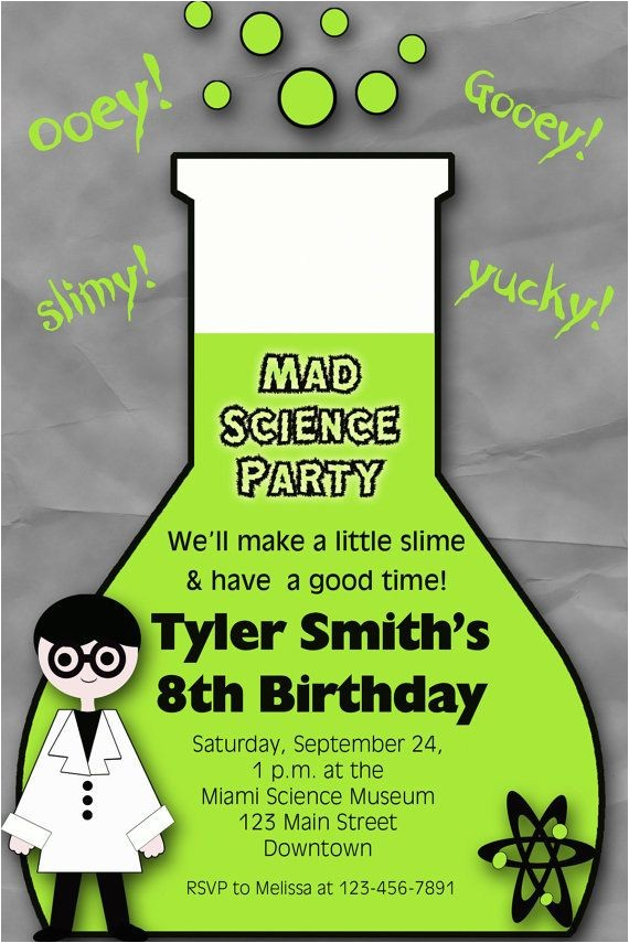 3 fine mad science birthday party invitations