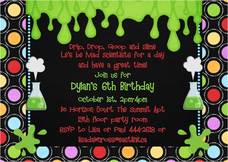 mad science birthday party invitations p 907
