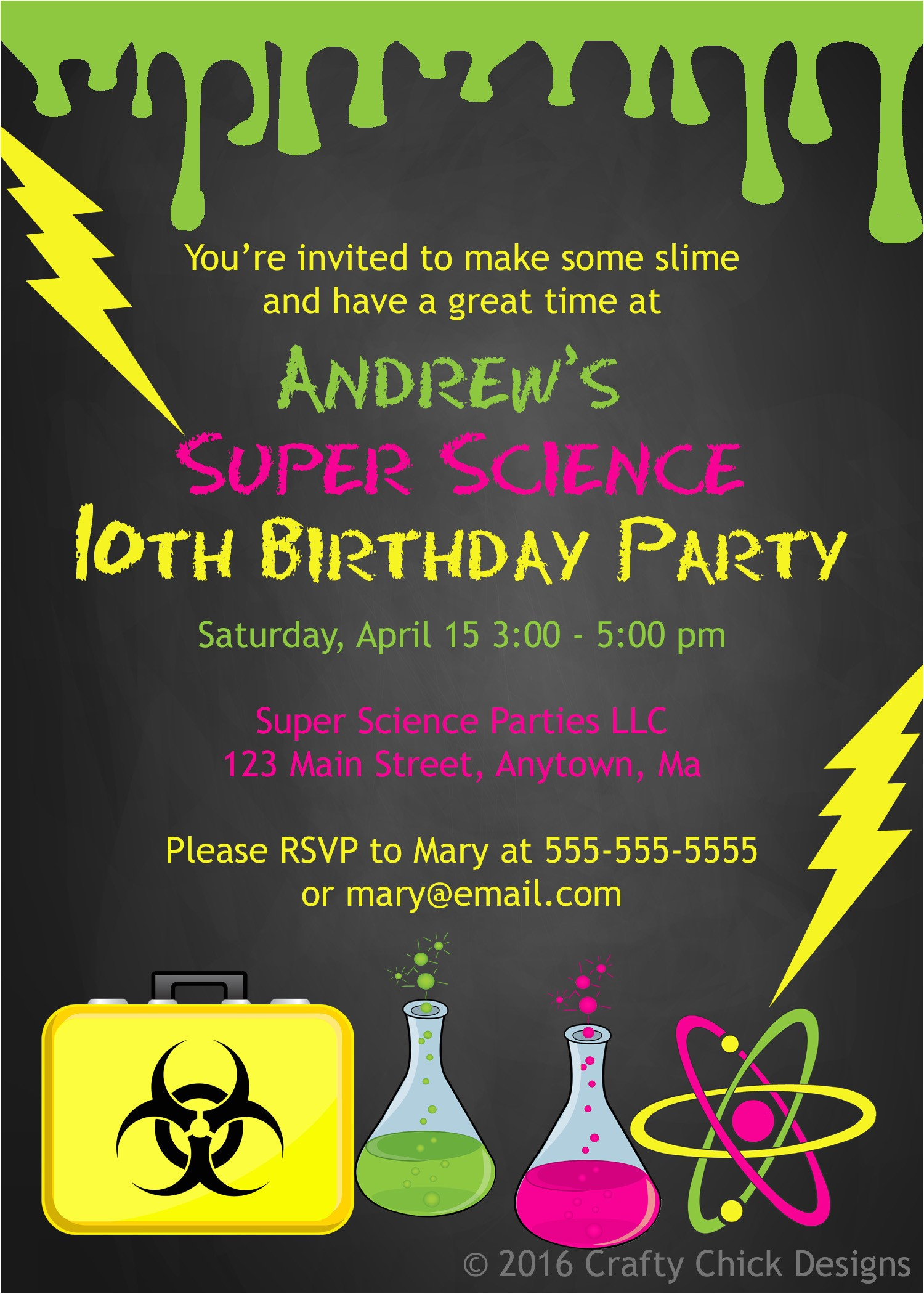 science theme birthday party invitations