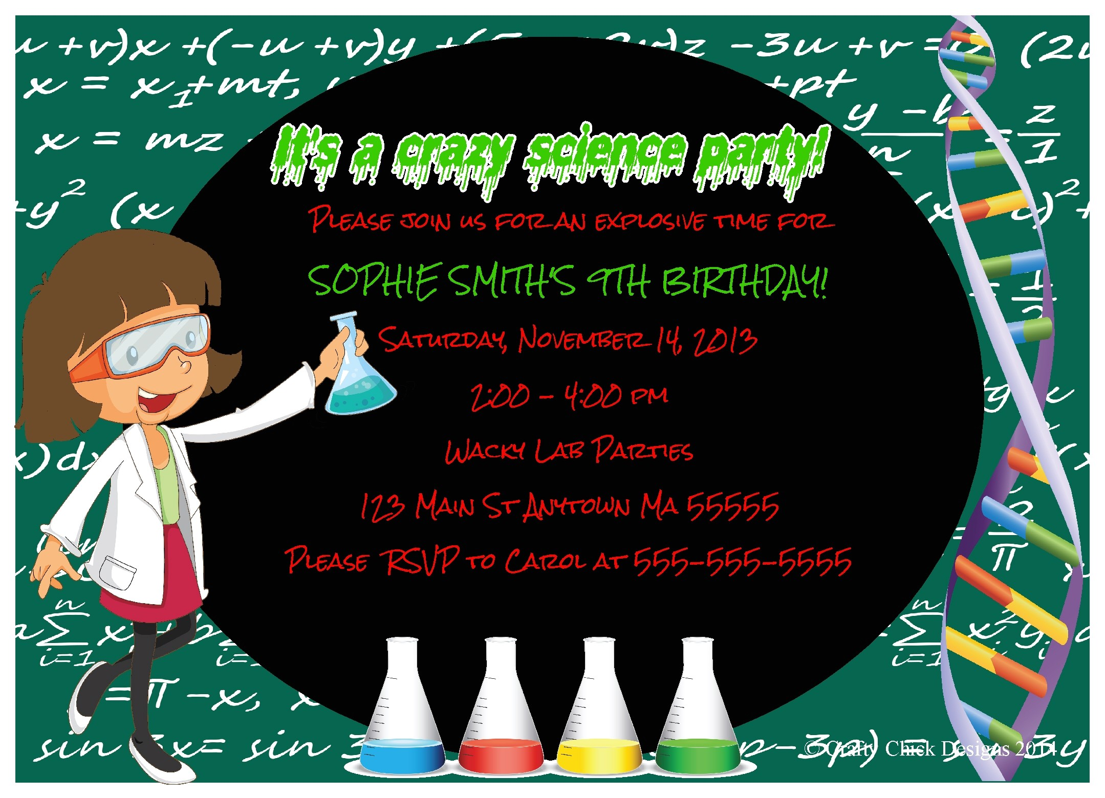 science theme birthday party invitations girl