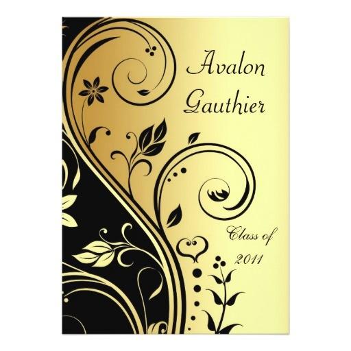 floral gold black scroll graduation invitation 161437312698807933