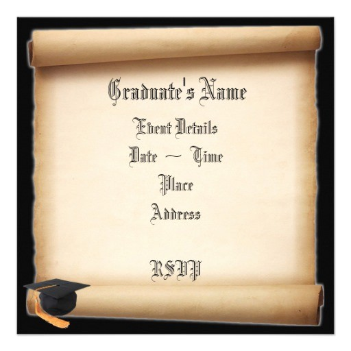 graduation scroll template invitations 161313454766329051