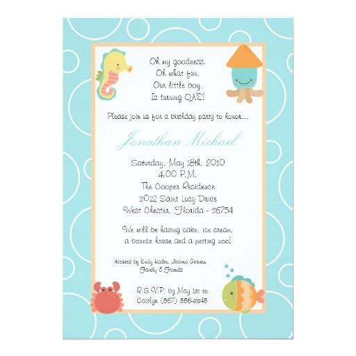 5x7 sea life ocean fish birthday party invitation 161469328211374141