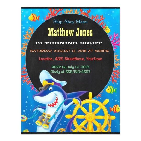 colorful boys sea life birthday chalkboard invites 256539320189048512
