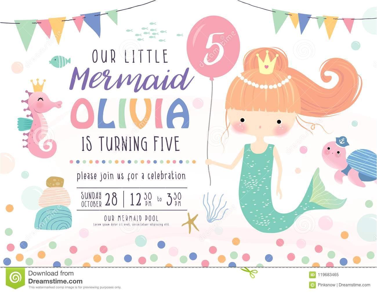 kids under sea birthday party invitation card cute little mermaid marine life kids birthday party invitation card image119683465