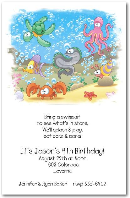 Sea Life Birthday Party Invitations Sea Life Party Invitations Under the Sea Birthday Party