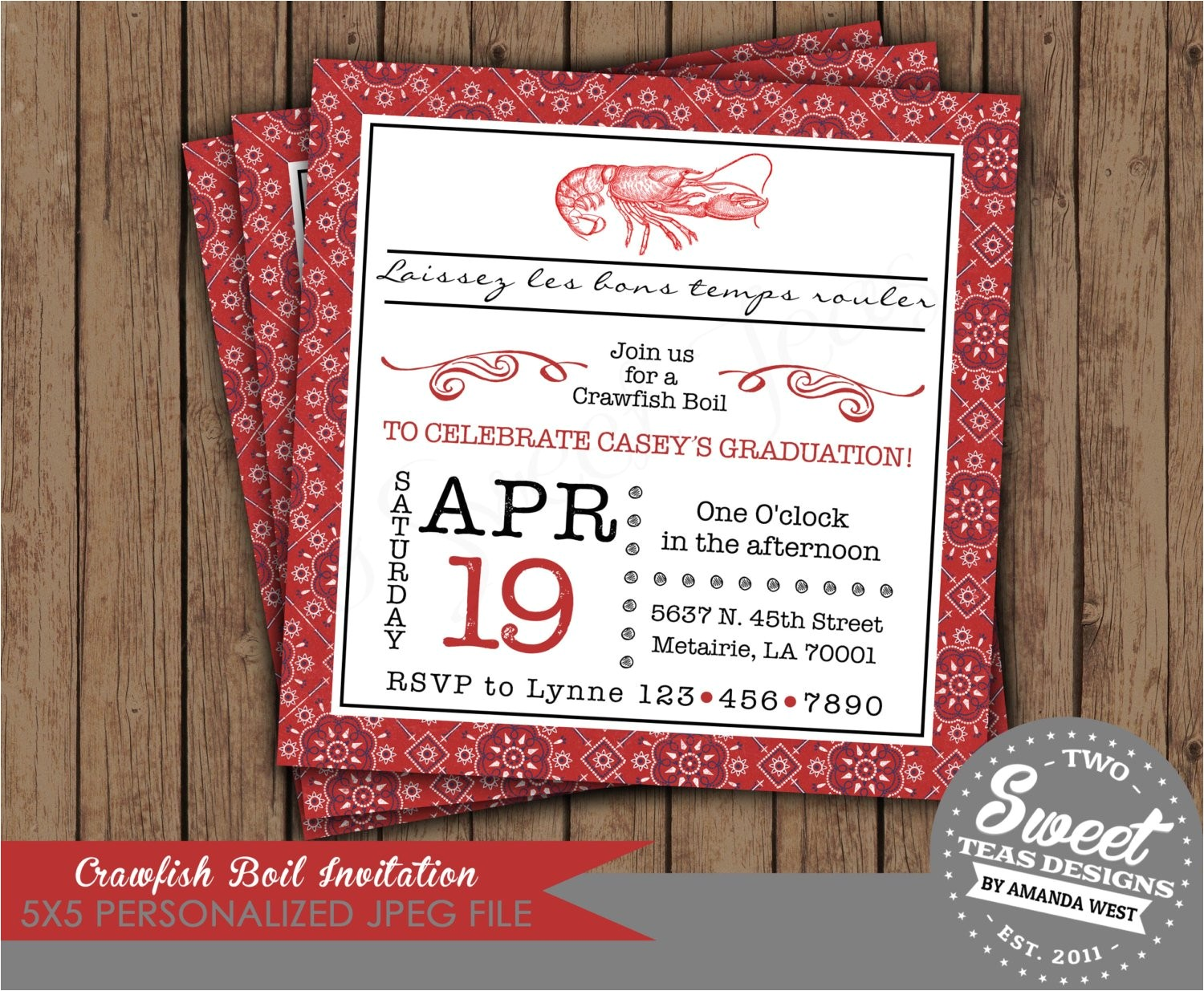 crawfish boil invitation birthday party