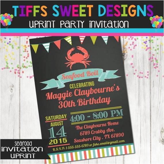 seafood boil birthday party invitation