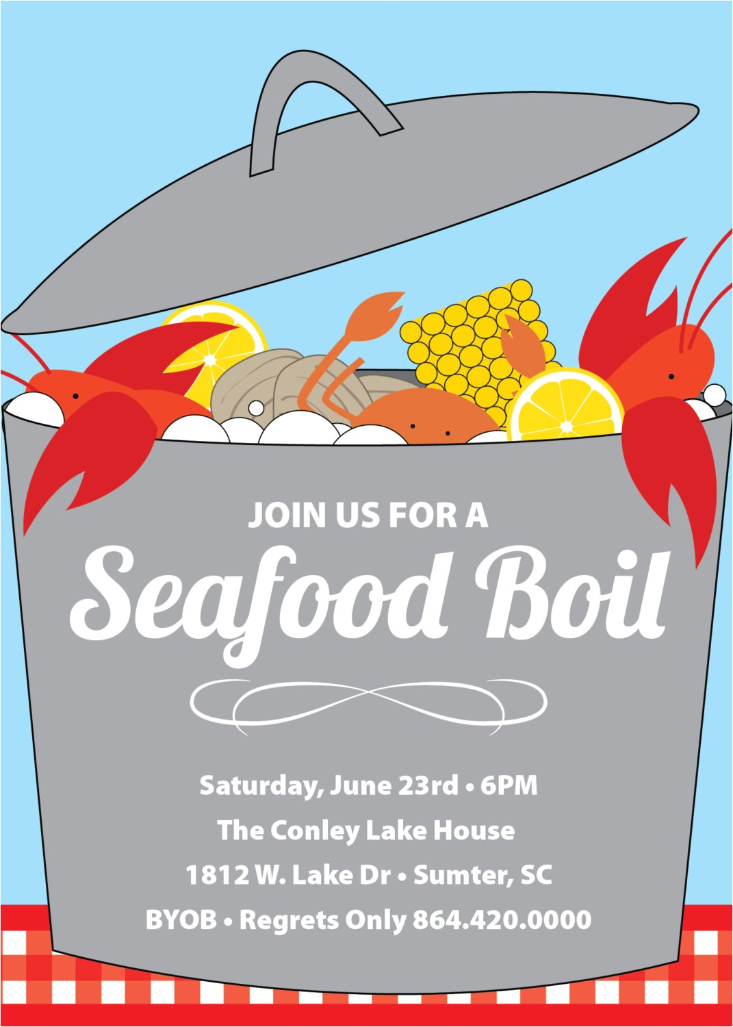 6810190 seafood boil clam lobster crab bake invitation summer birthday byob se