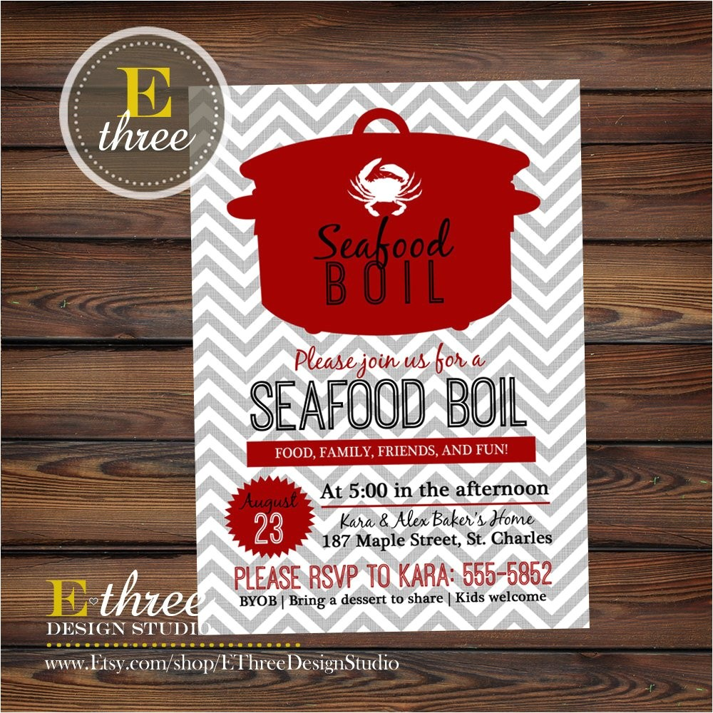 Seafood Boil Party Invitations Seafood Boil Invitation Shrimp Crab Boil Party Invitation