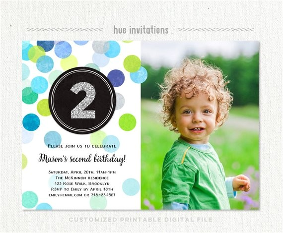 2nd birthday invitation boy blue green