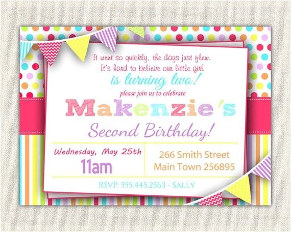 girls 2nd birthday rainbow invitation