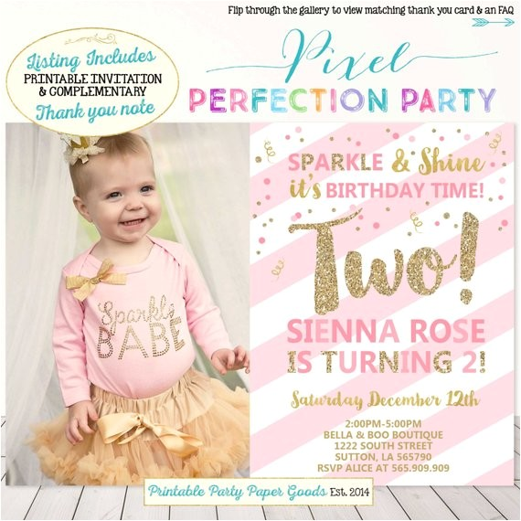 girls second birthday invitation pink