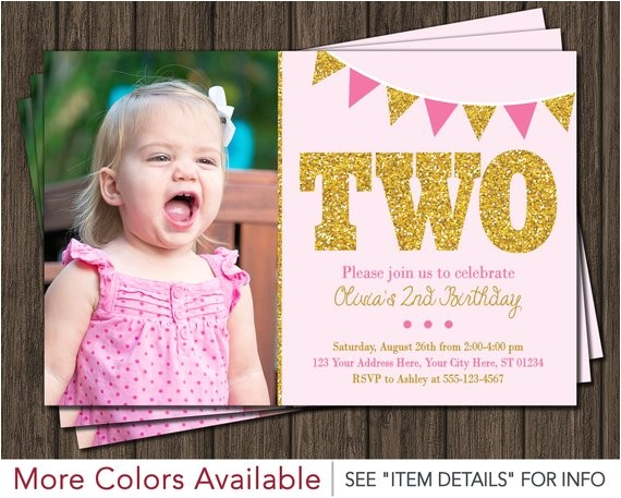 second birthday invitation blush pink gold 4