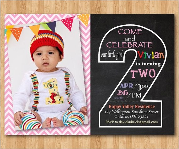 second birthday invitation chalkboard