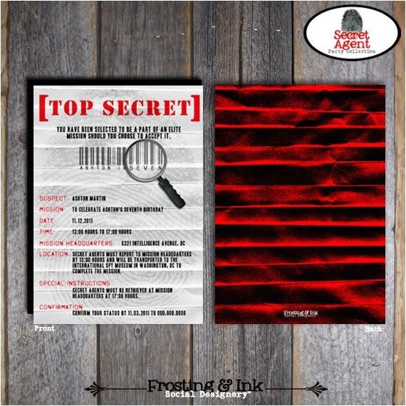 Secret Agent Party Invitations Free Spy Party Secret Agent Party Invitation Wrap Around
