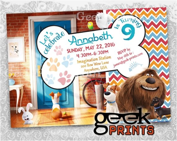 pets movie theme birthday invitation custom