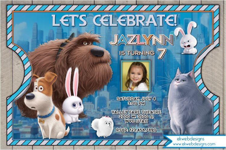 the secret life of pets birthday invitation the secret life of pets movie inspired invitations