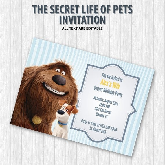 the secret life of pets party invitation