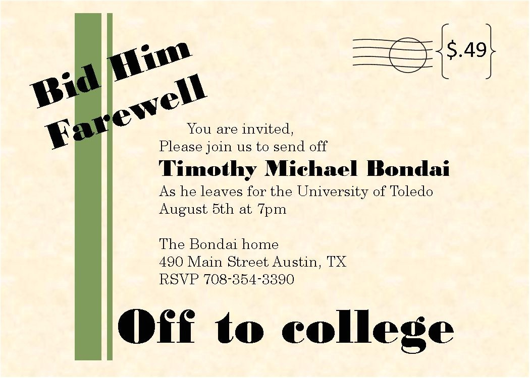 college send off party invitation wording