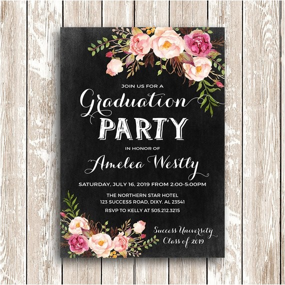 floral graduation invitation printable