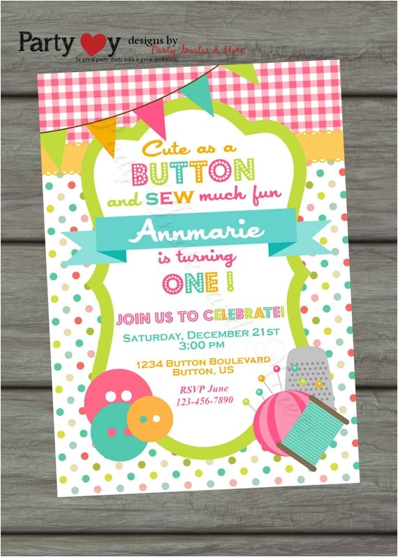 cute as a button birthday invitation sew