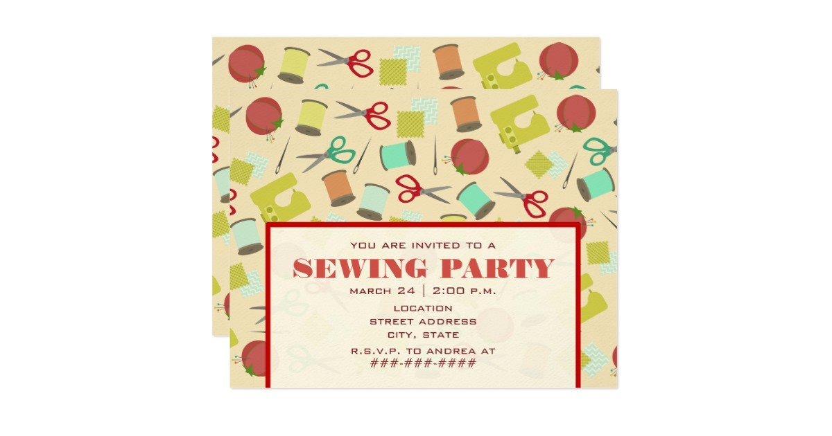 retro inspired sewing party invitation 161958034111557053