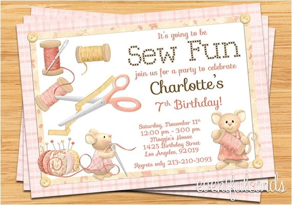 Sewing Party Invitations Sewing Birthday Party Invitation 5×7 Printable File