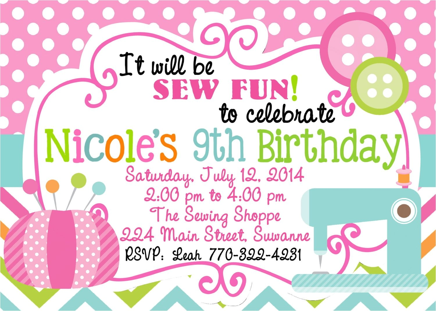 sewing birthday party invitation sewing