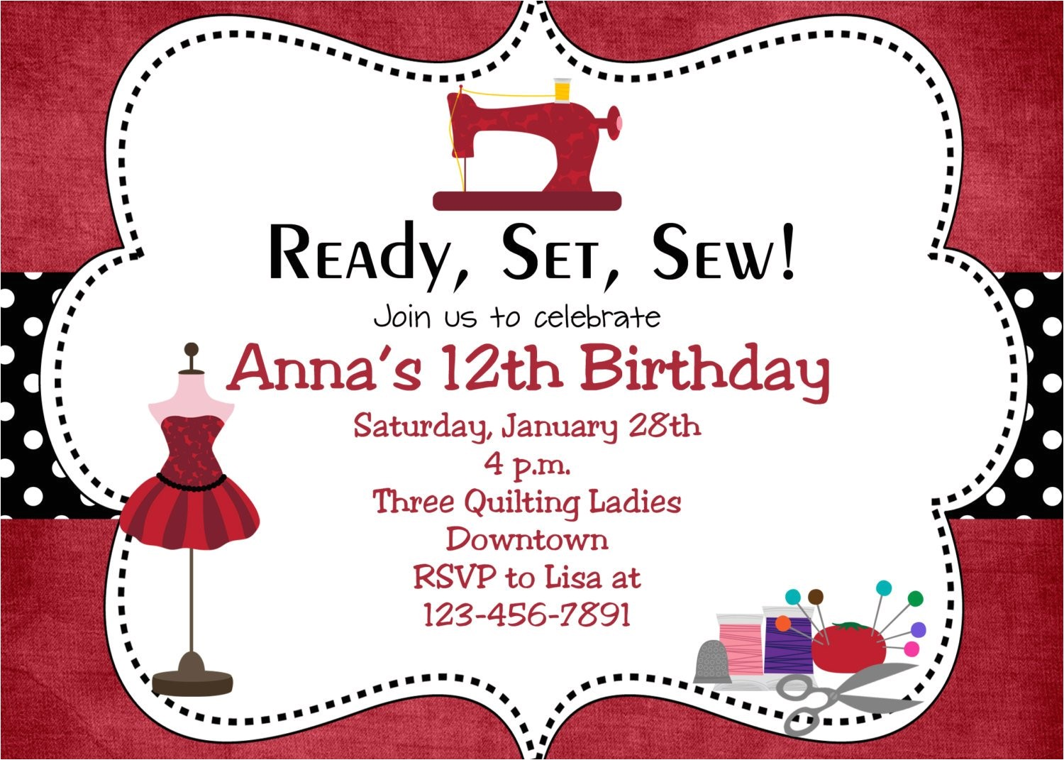 sewing party birthday invitation sewing
