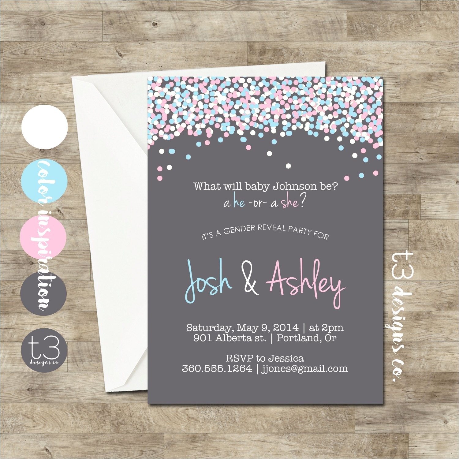 gender reveal invitation confetti gender