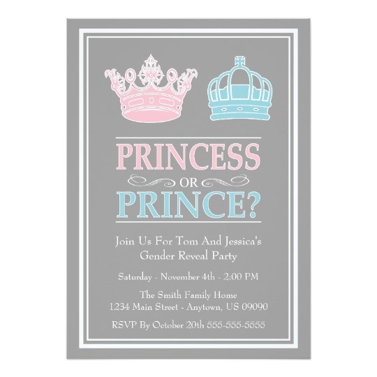 princess or prince gender reveal party invitations 161671238042187473