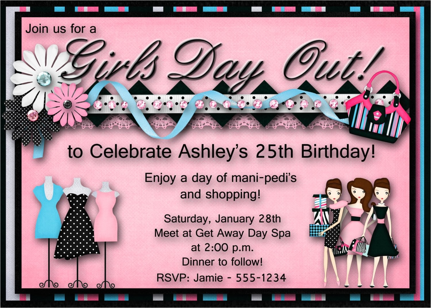 girls day out birthday party invitation