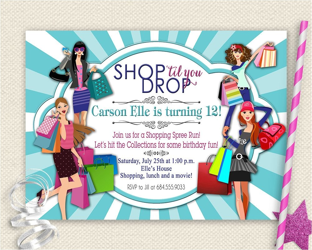 Shopping Party Invitation Girls Day Out Invitation Shopping Birthday Invitation Mall