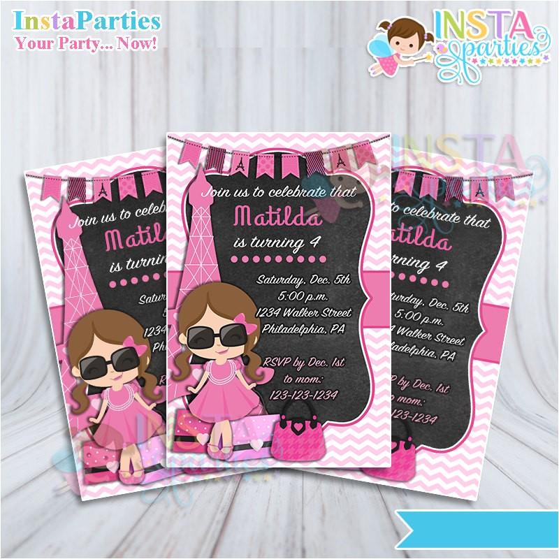 shopping diva invitations paris invitation girl eiffel invitation birthday digital printable file 4x6 pink chalkboard african american