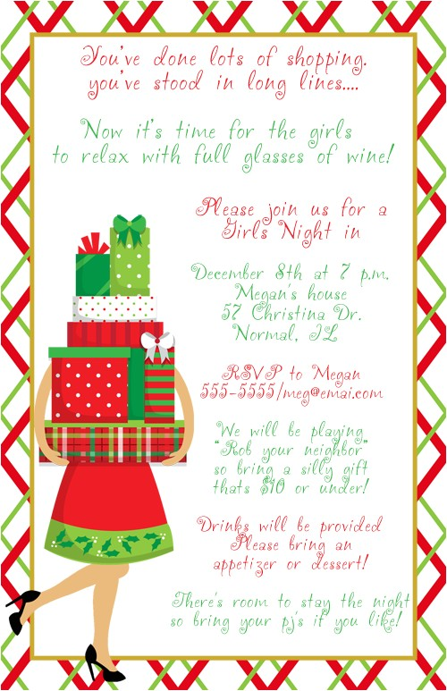 girls night christmas party invitations