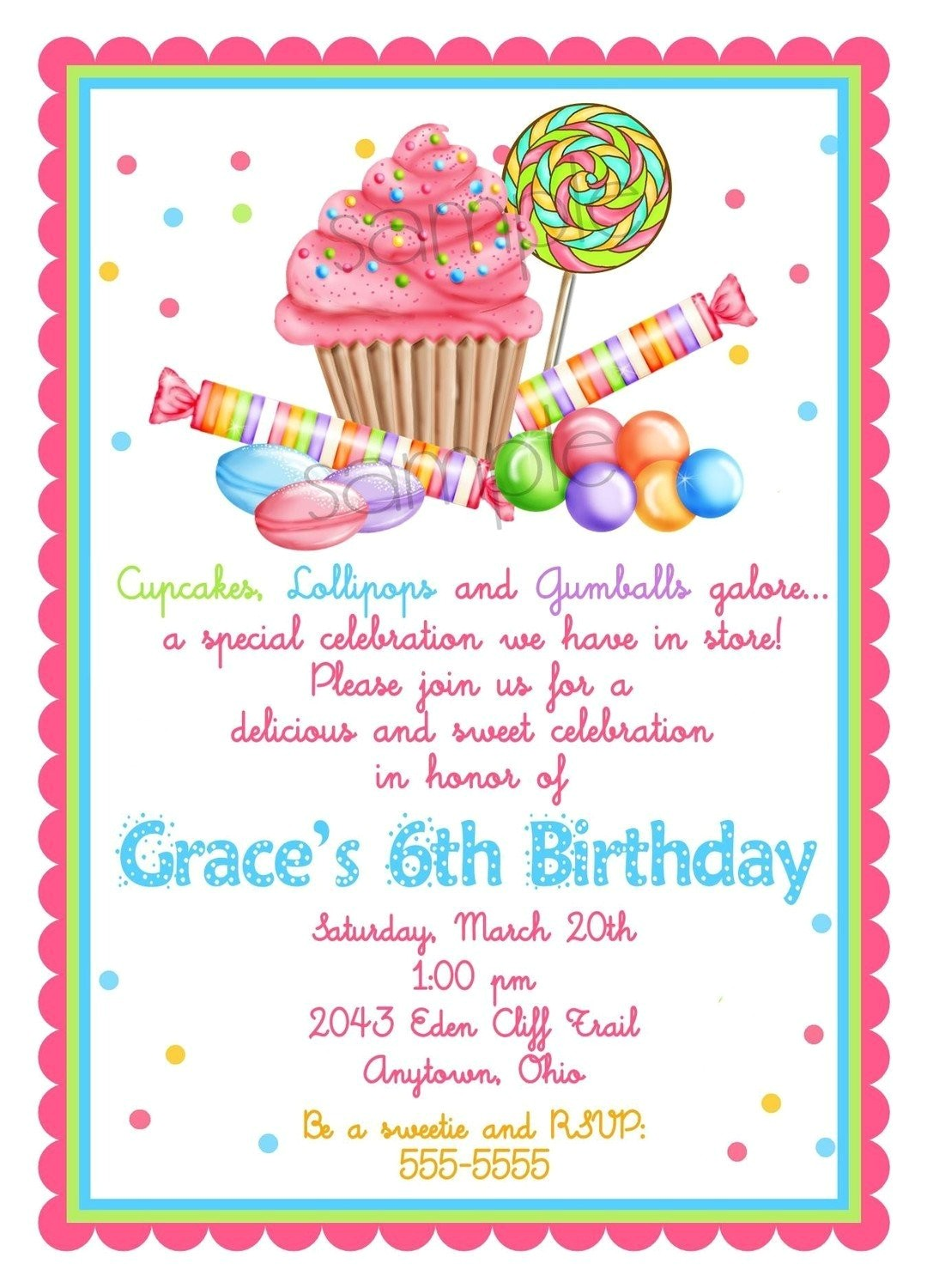 sweet shop birthday party invitations
